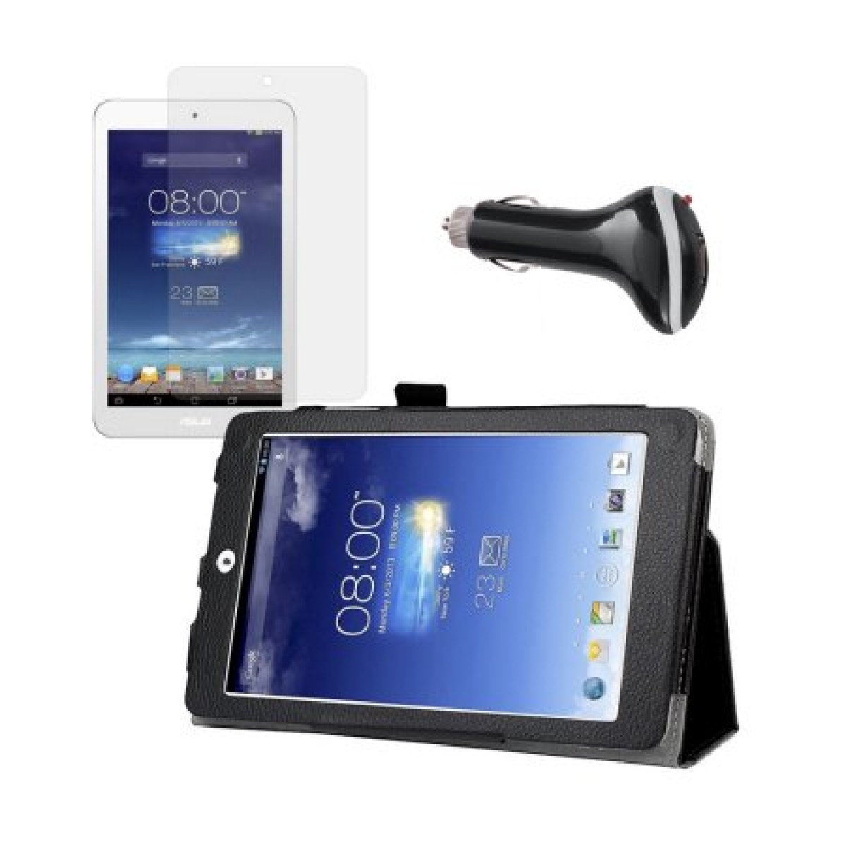 san francisco 72884 56948 Black Folio Case with Screen Protector and Car Charger for ASUS MeMO Pad 8