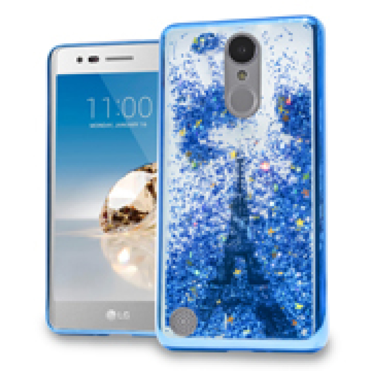 Blue Paris Eiffel Tower Motion Glitter Chrome Case For LG Rebel 2 / K4  (2017) / LV3 Phone