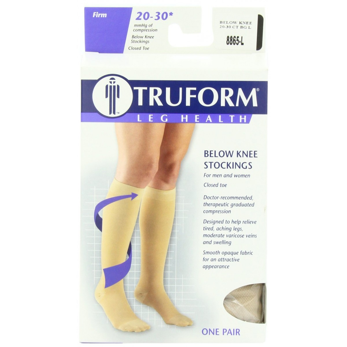Mens Trueform Leg Health Below Knee Compression Socks Beige LARGE 8865