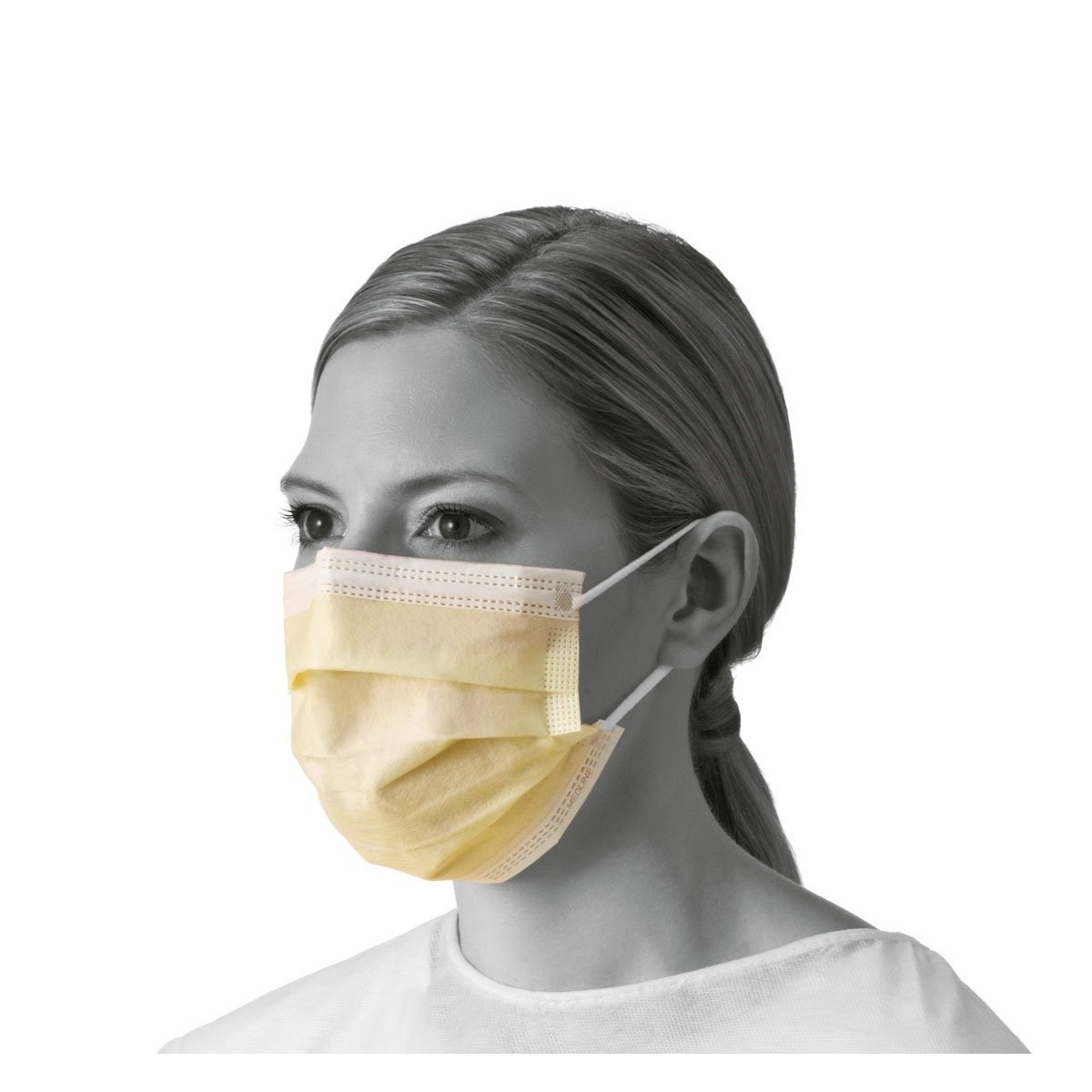 Medline Industries NON27122 Isolation Face Masks with Earloops,  Polypropylene, Latex Free, Yellow (Pack of 300)