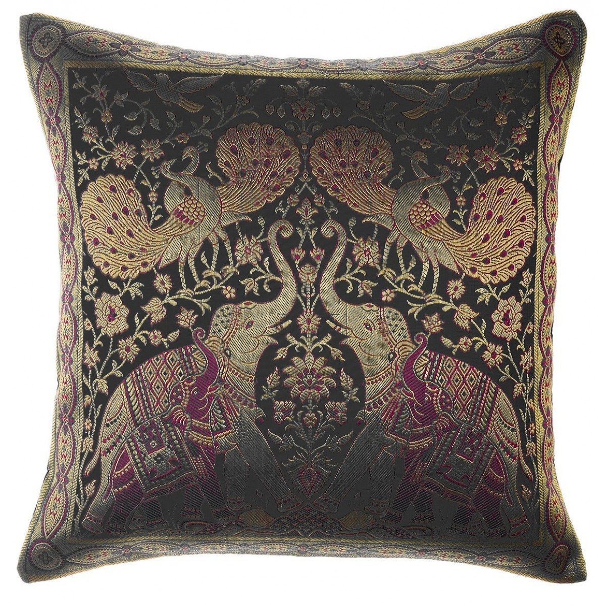 Avarada India Style Elephant Peacock Throw Pillow Cover Decorative Sofa Couch Cushion Cover Zippered 16x16 Inch 40x40 Cm Black
