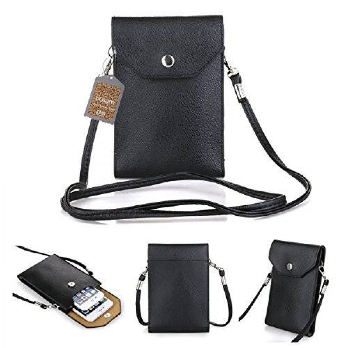 reputable site 90717 ae274 Bosam Girls Mini Shoulder Crossbody PU Leather Cellphone Carrying Case Bag  for 5.5-Inch Smartphones - c Black