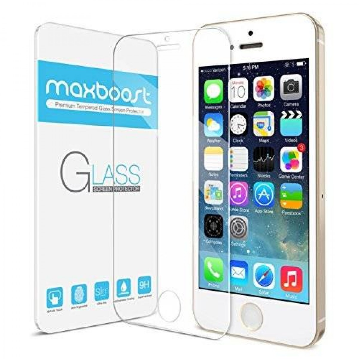the best attitude acf62 ece6a Maxboost iPhone 5S Screen Protector