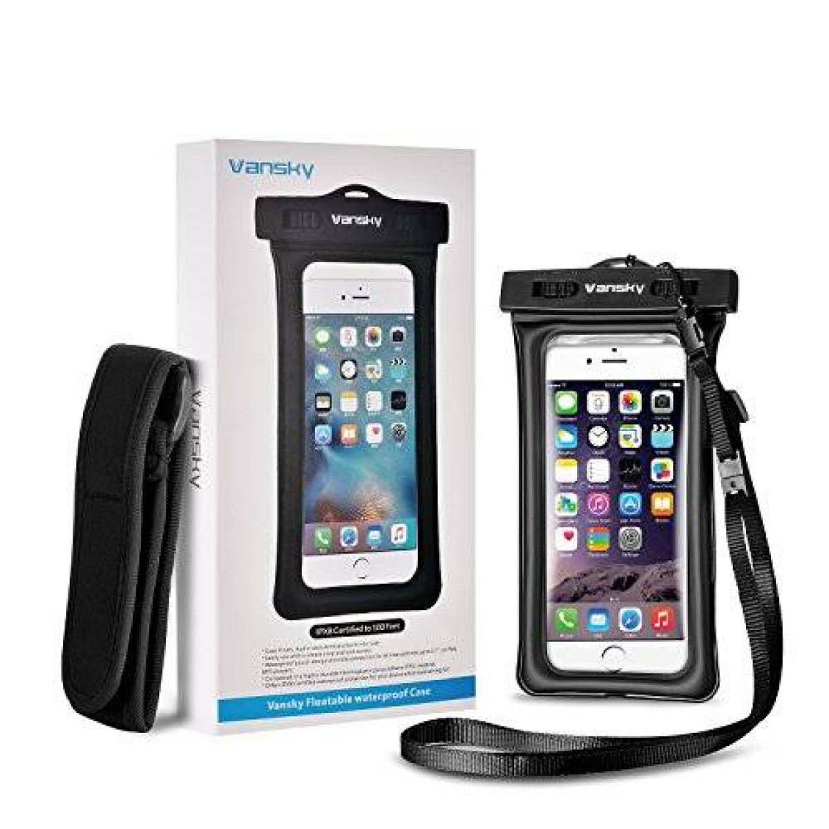 free shipping 81a2c aa334 Vansky Floating Waterproof Case Dry Bag with Armband and Audio cable for  iPhone 6