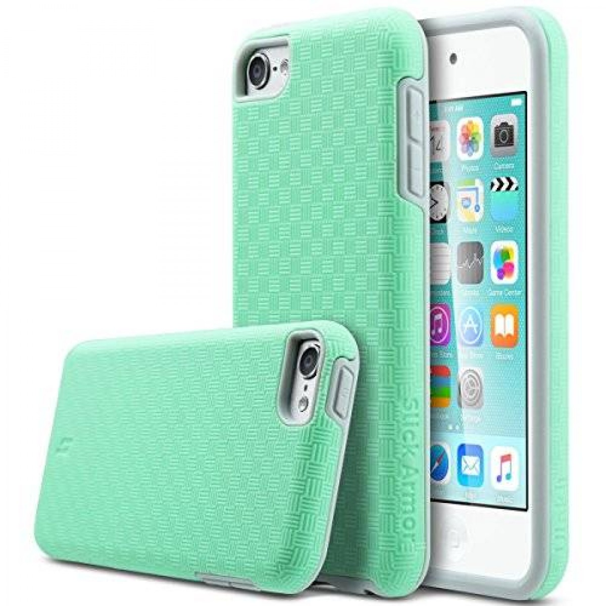 buy online 45b5b a9378 ULAK iPod 6 Case,iPod 5 Case,[ SLICK ARMOR ] Slim-Protection Case for Apple  iPod Touch 6 5th Generation (Green)