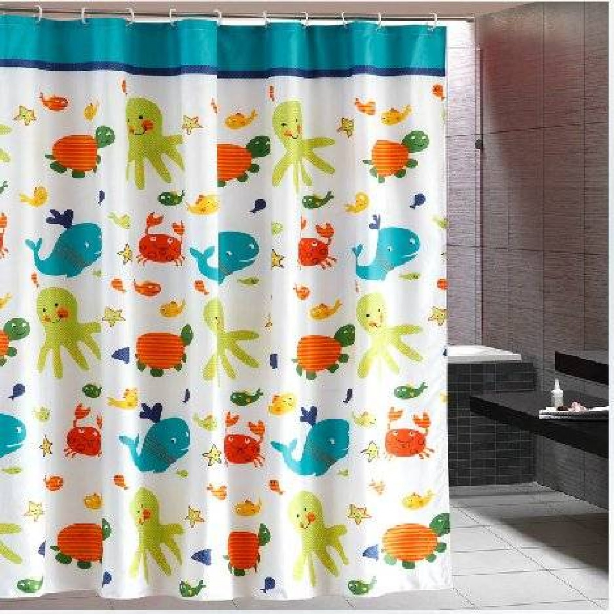 Eforgift Printed Animals Tortoise Fish Waterproof And Non Mildew Curtains Fabric Bathroom Shower Curtain 72 Inch Multi Color