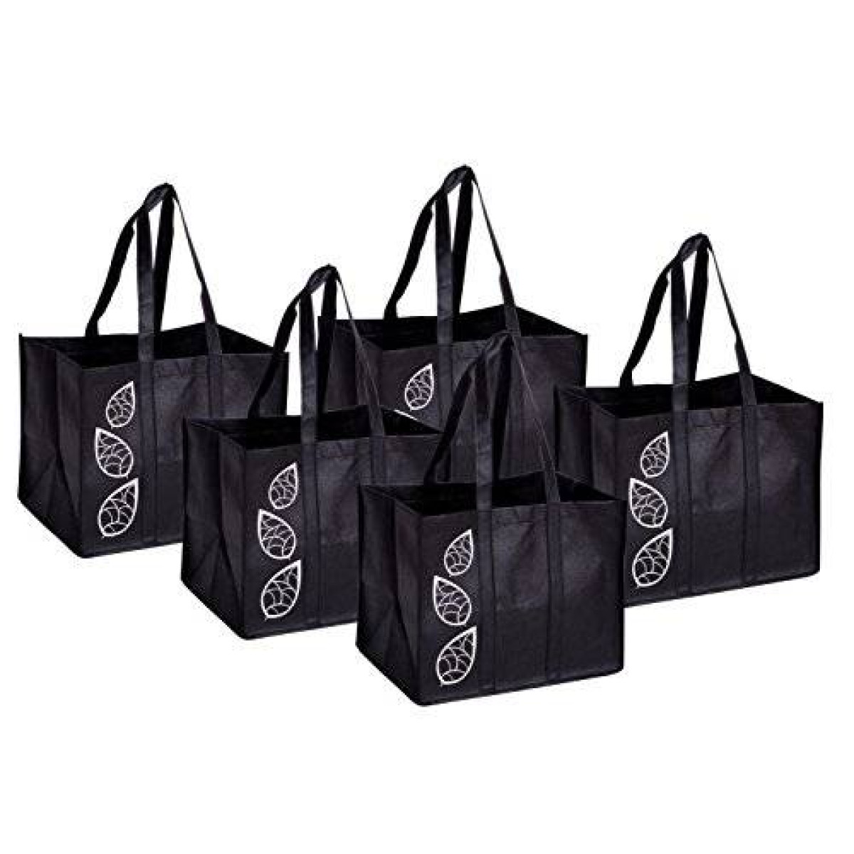 c4e222466b Bekith 5 Piece Large Collapsible Shopping Bags Set,Black Reusable ...