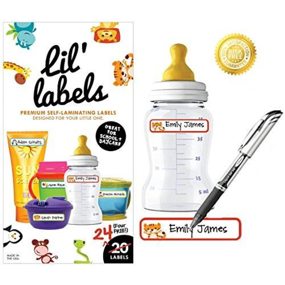 Great for Daycare Self-laminating Baby Bottle Labels