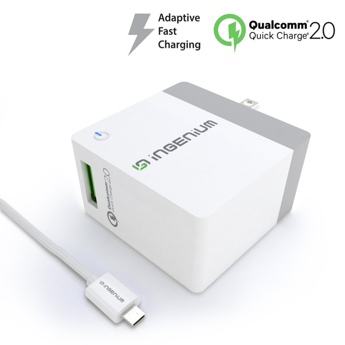 Ingenium [NEXT-GEN Quick Charge 2 0] USB Adaptive Fast Wall Charger with  Foldable Plug for Android, Samsung Galaxy S6/S7/EDGE, NOTE 4/5, LG G4 V10,