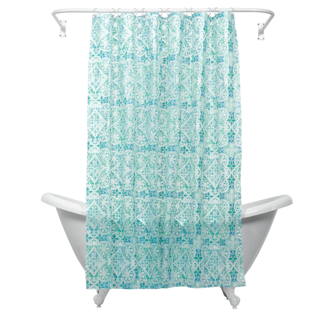 ZPC Zenith Products Zenna Home India Ink Morocco Peva Shower Curtain Liner Teal Corporation 146194023Z For Christmas