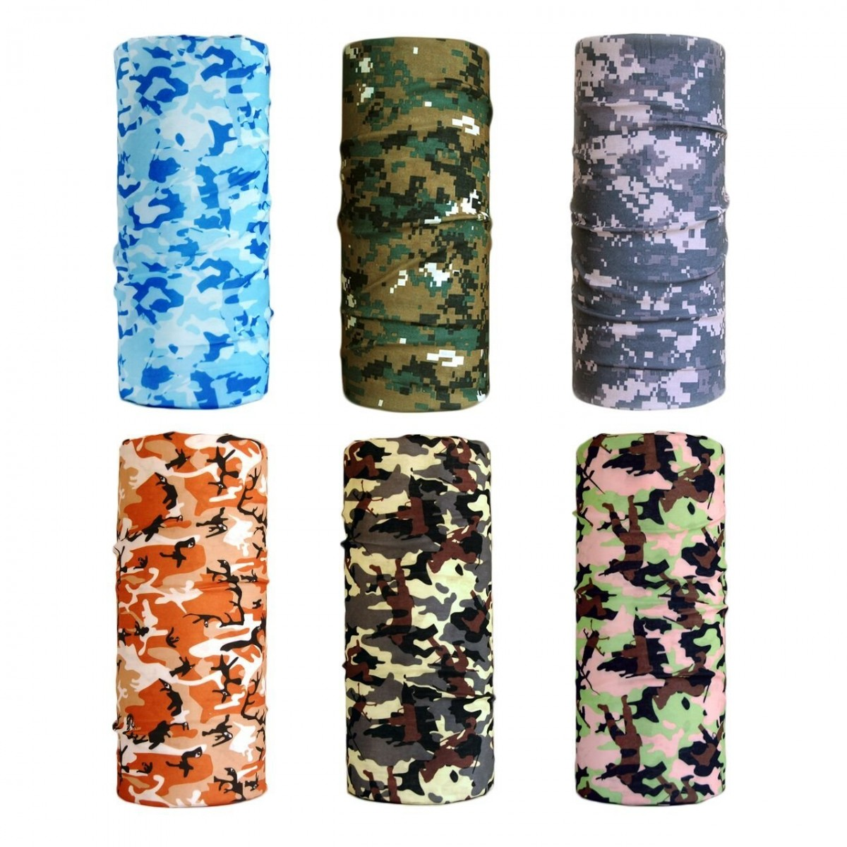 b0826d434 Cool Pack of 6 Pcs Seamless Style Camo Bandanna Headwear Scarf Wrap Neck  Gaiters. Perfect for Running and Hiking ...