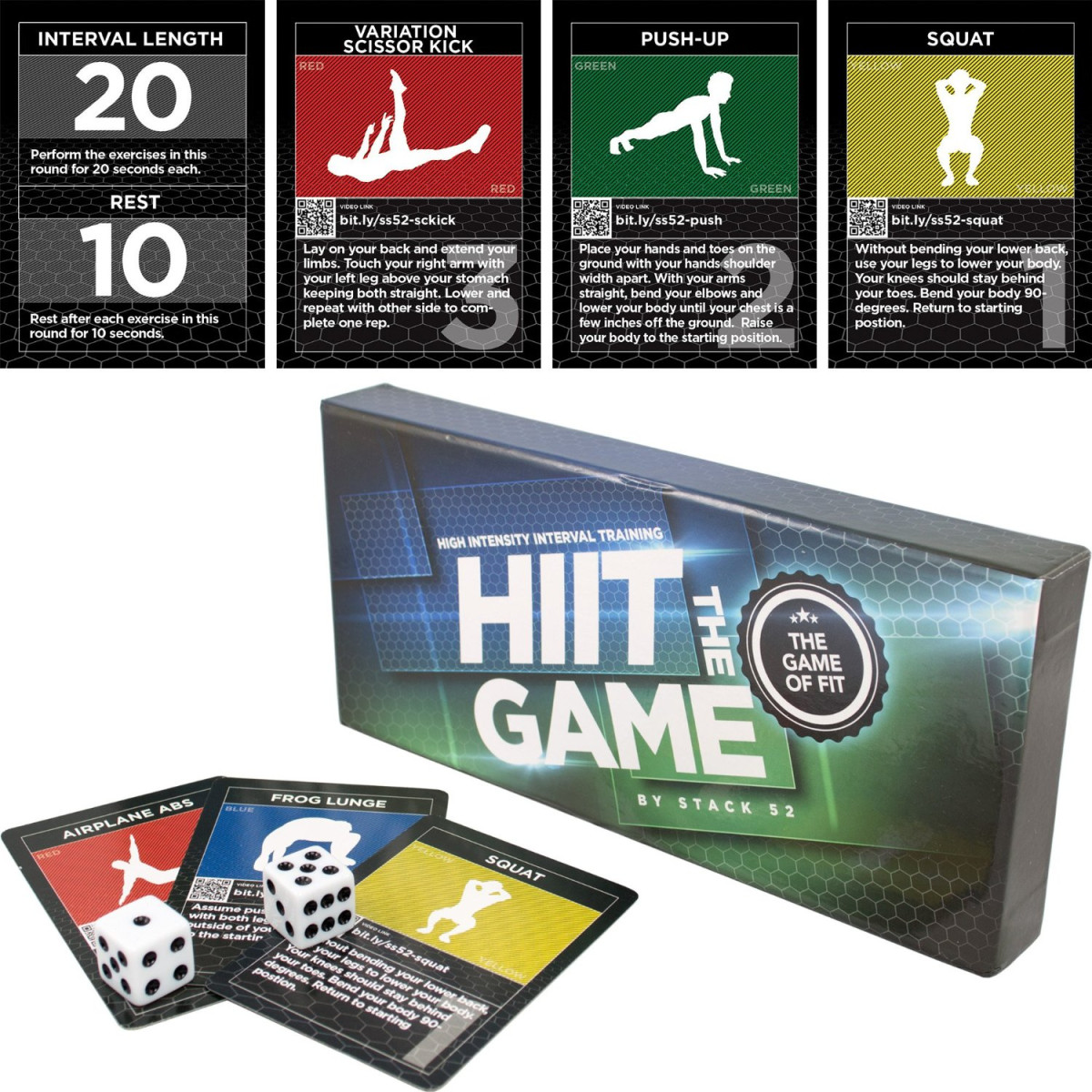 The HIIT Interval Workout Game by Stack 52  Designed by Military Fitness  Expert  Video Instructions Included  Bodyweight Exercises, No Equipment