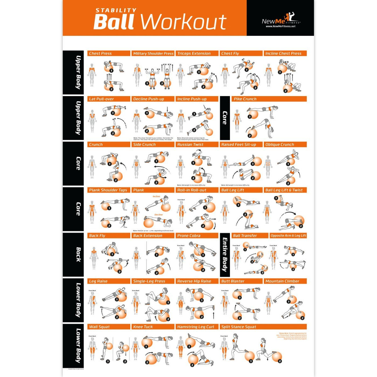 Stability Ball Upper Body Workout: NewMe Fitness Exercise Ball Poster