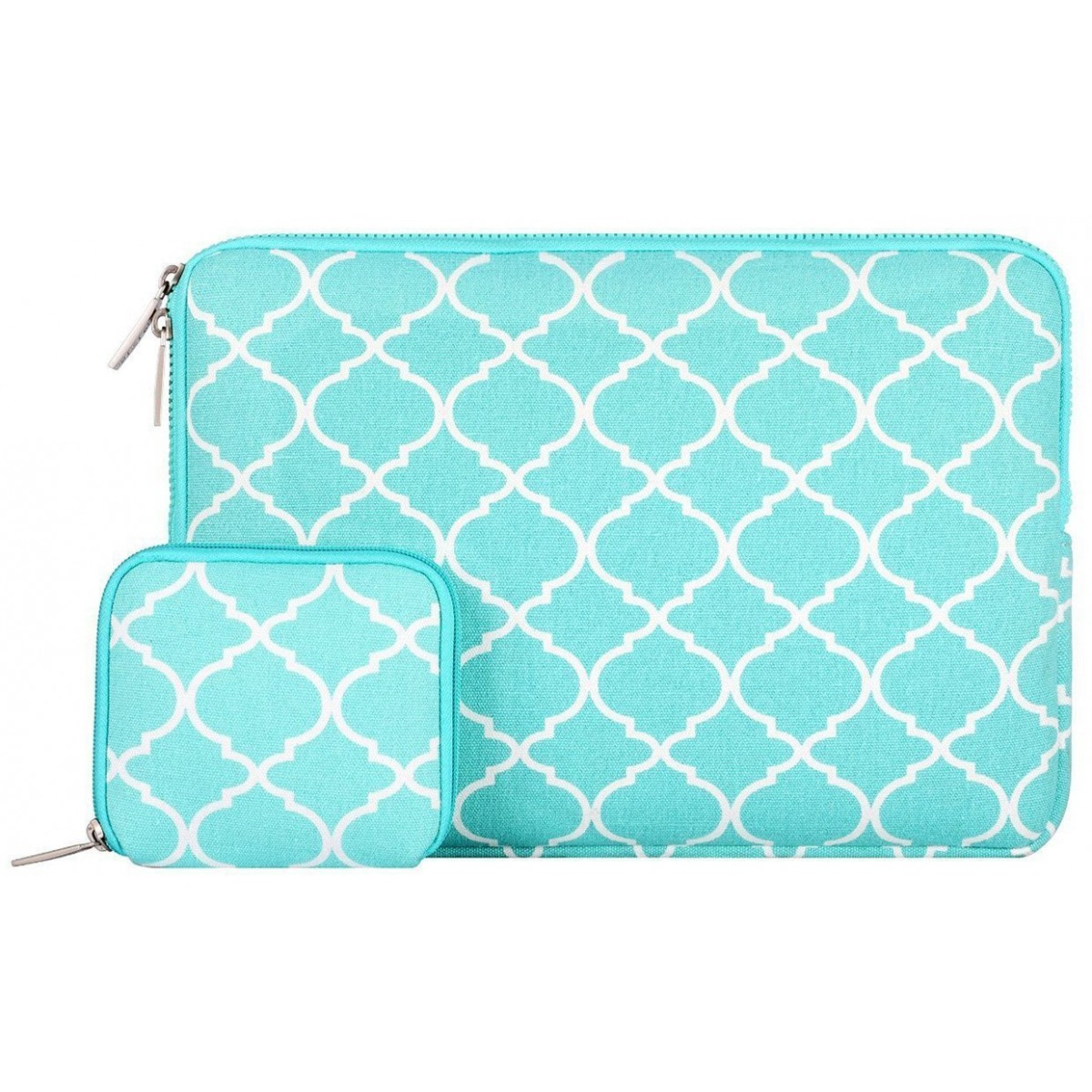 98f59d739a2c Mosiso Laptop Sleeve, Quatrefoil Style Canvas Fabric Case Bag Cover for  13-13.3 Inch MacBook Pro, MacBook Air, Notebook with a Small Case, Hot Blue