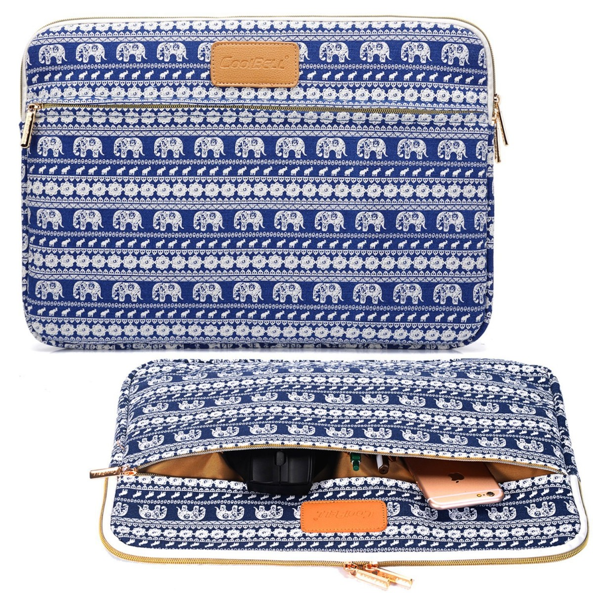 "NEW BLUE ELEPHANTS Canvas Sleeve Zipper Case Cover Bag 15.6/"" Laptop Macbook pro"