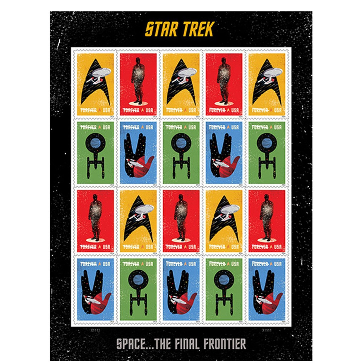20 Star Trek USPS Forever First Class Postage Stamps Enterprise classic TV  1 sheet of 20 stamps