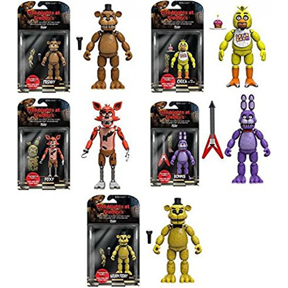 """5 Nights At Freddy's Chica funko five nights at freddy's 5"""" freddy, chica, foxy, bonnie, gold freddy  action figures! set of 5"""