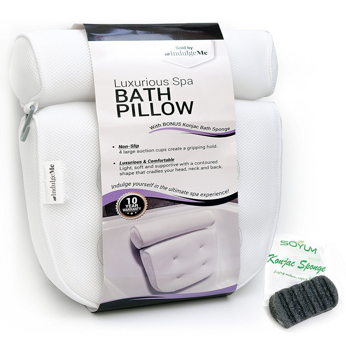 Harrison House Luxurious Bath Pillow with Konjac Bath Sponge and 4 ...