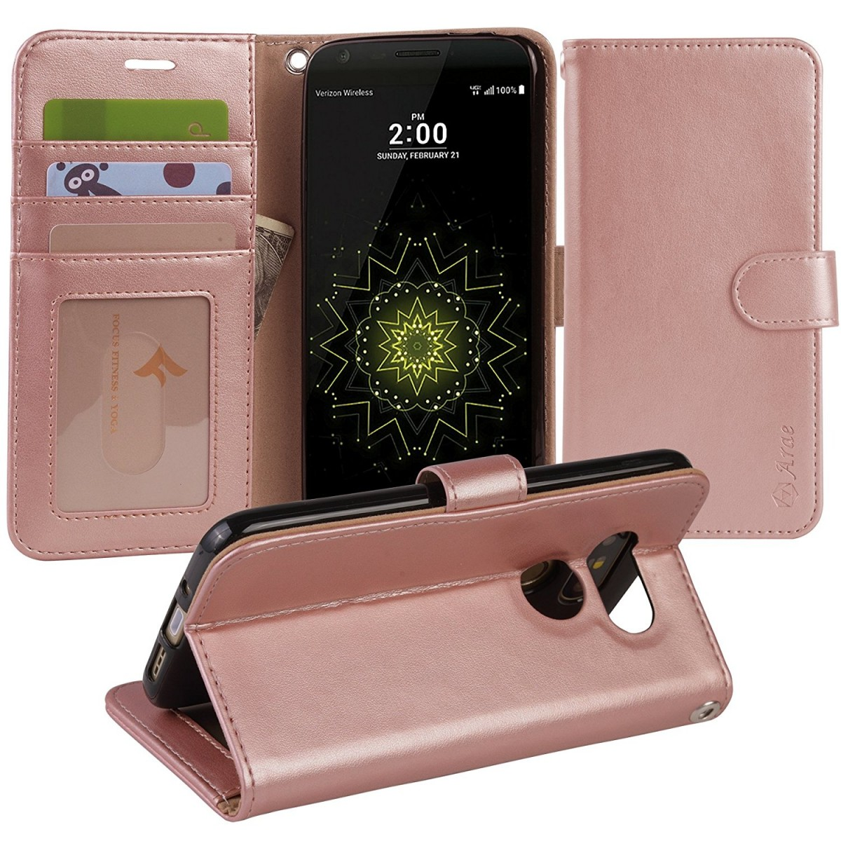 competitive price dd9d6 a2e92 LG G5 Case, Arae [Wrist Strap] Flip Folio [Kickstand Feature] PU leather  wallet case with IDandCredit Card Pockets For LG G5 (rosegold)