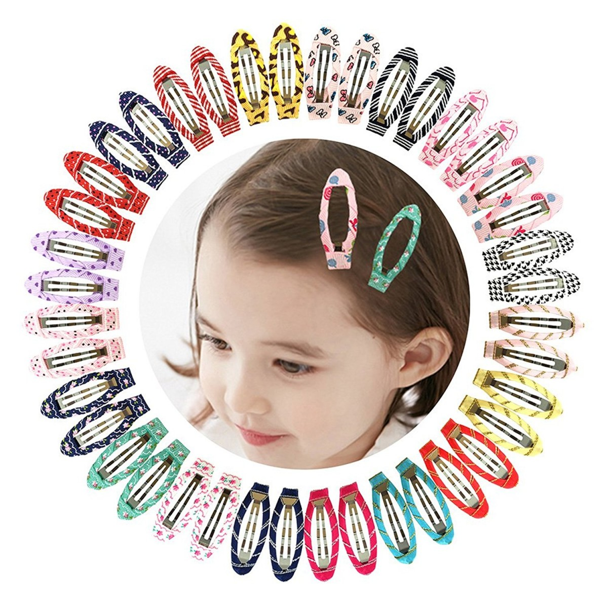 Ruyaa 2 Snap Clips No Slip Wrapped Hair Barrettes for Toddlers Girls ... 31e7e61873c