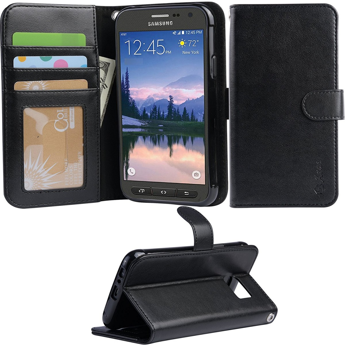 buy popular 1b813 f9f38 ARAE Samsung Galaxy S7 Active Wallet case with Kickstand and flip cover  (not for s7), Black