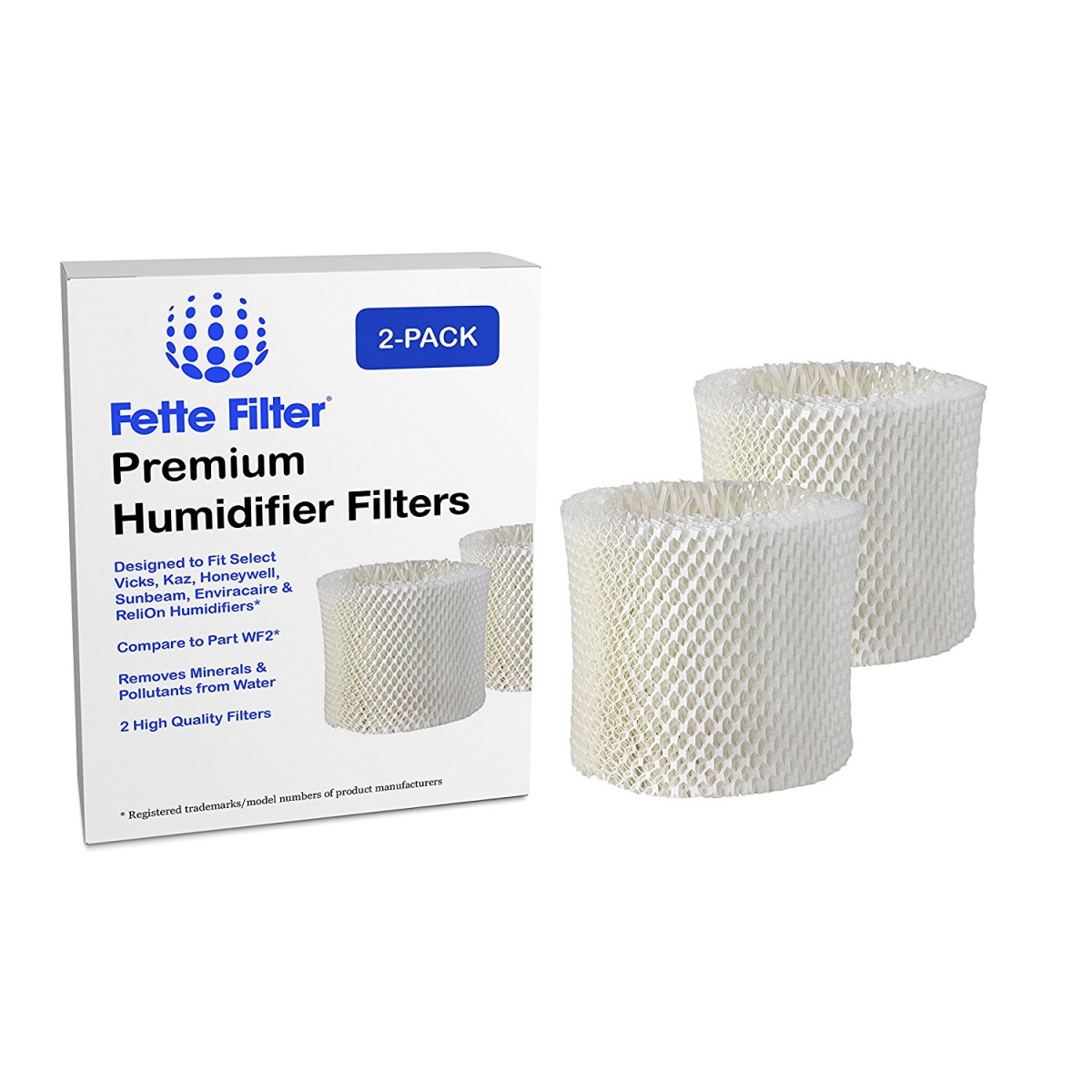 2 Pack Vicks and Kaz WF2 Humidifier Compatible Filter