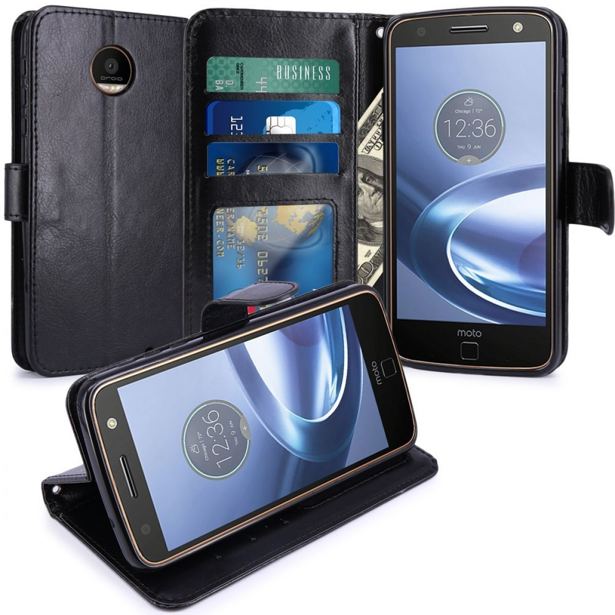 detailing 46125 6e900 Moto Z Force Case, LK Luxury PU Leather Wallet Flip Protective Case Cover  with Card Slots and Stand For Motorola Moto Z Force Droid (Black)