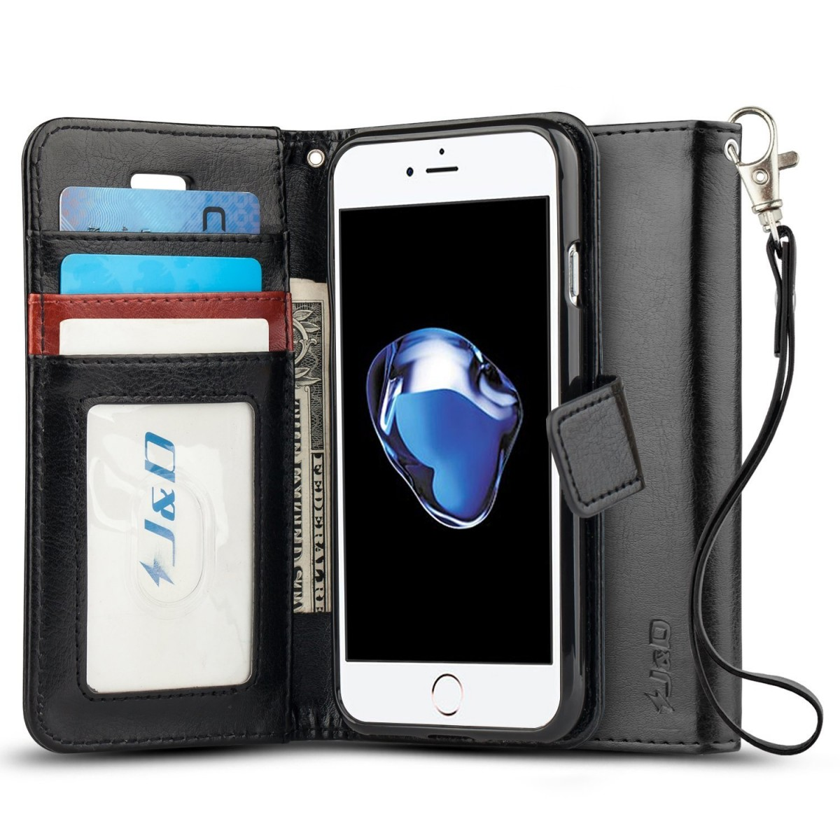 online retailer 2629d c26c6 iPhone 8 Case, iPhone 7 Case, JandD [Wallet Stand] [Slim Fit] Heavy Duty  Protective Shock Resistant Flip Cover Wallet Case for Apple iPhone 8, Apple  ...
