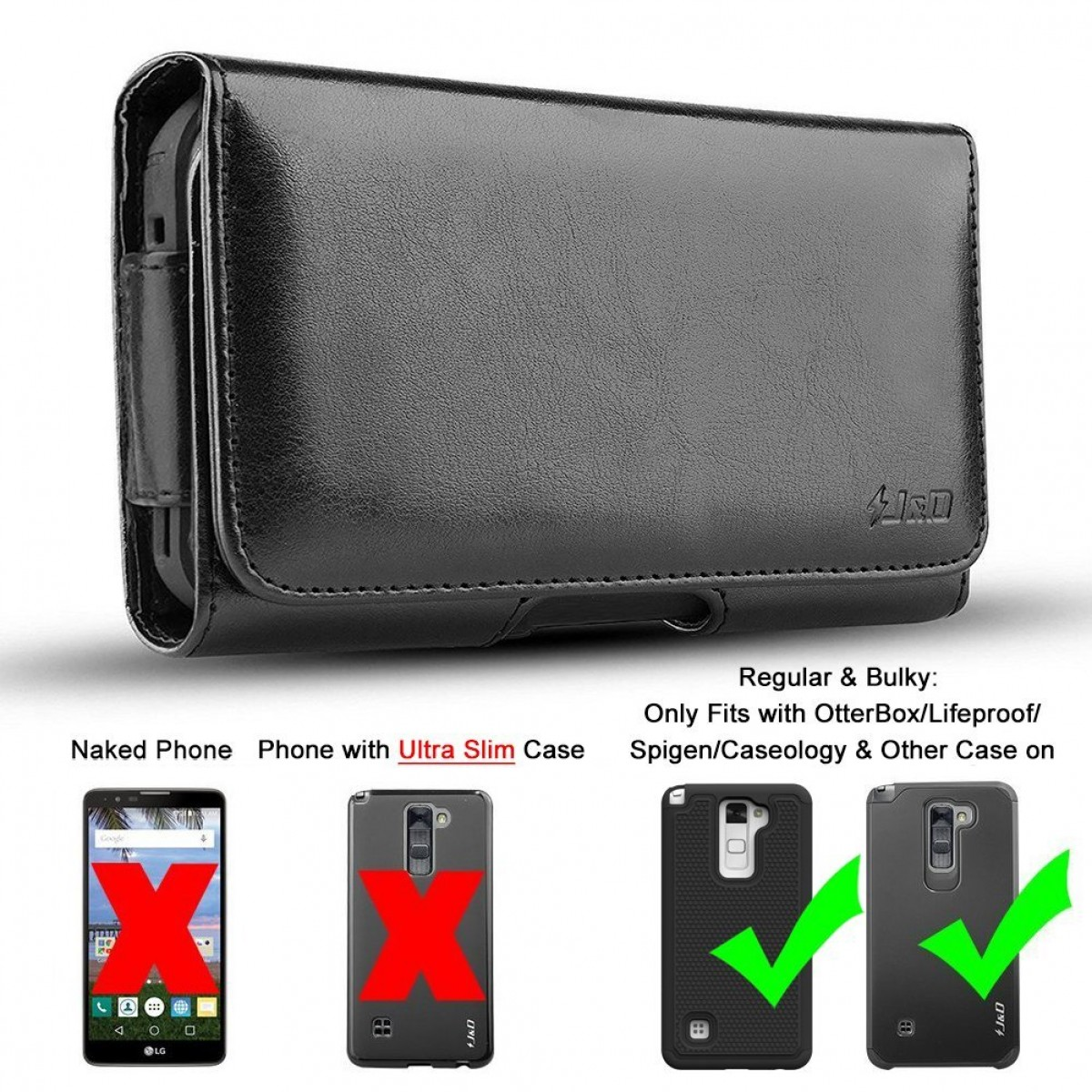 new product 64cbe 42a49 LG Stylo 2 Holster, JandD PU Leather Holster Pouch Case with Belt Clip,  Leather ID Wallet Case for LG Stylo 2 (Only Fits with ...