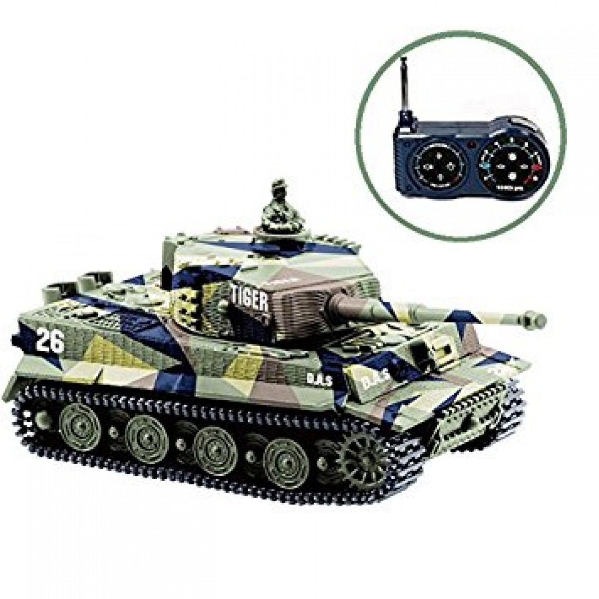 BlueFit German Tiger I Panzer Tank With Remote Control Battery Light Sound Rotating Turret And Recoil