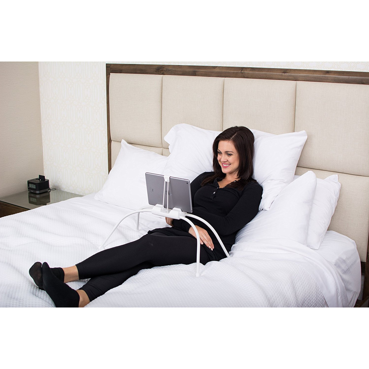 tablift tablet stand in white for the bed sofa or any uneven surface. Black Bedroom Furniture Sets. Home Design Ideas
