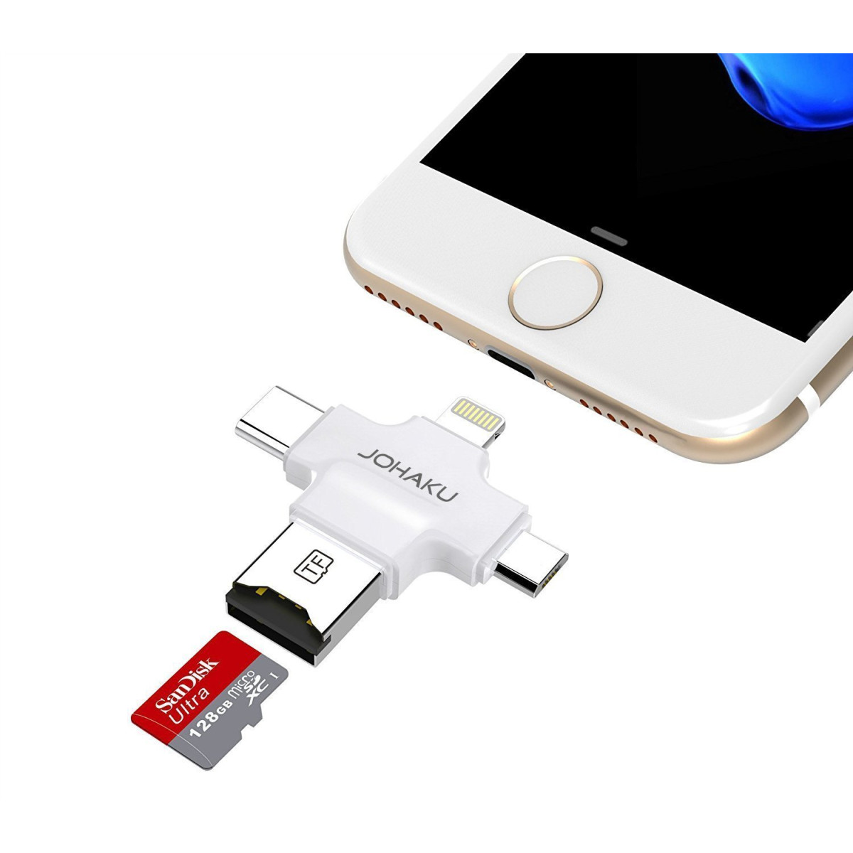 JOHAKU Card Reader, 4 in 1 Micro SD Card Reader with Type C USB Connector  OTG HUB Adapter, TF Flash Memory Card Readers For iPhone iOS/Android USB2 0