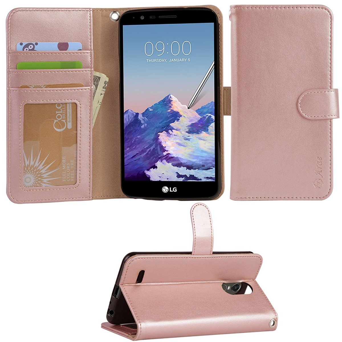 pretty nice 29158 0f3db LG Stylo 3 Case, LG Stylo 3 Plus Case, Arae LG G Stylo 3 wallet Case with  Kickstand and Flip cover, Rosegold