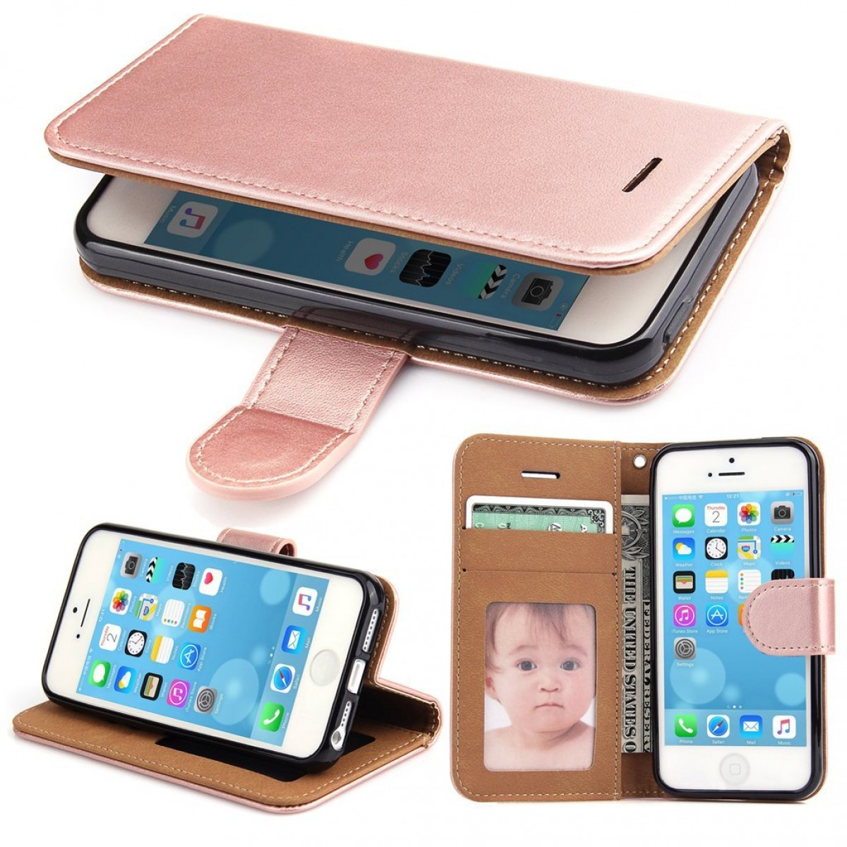 best cheap 03211 65518 iPhone 5S Case, iPhone 5 Case - SOWOKO iPhone SE Leather Wallet Case Slim  Flip Case, Shockproof Protective Phone Cover for Apple iPhone 5S/5/SE (Rose  ...
