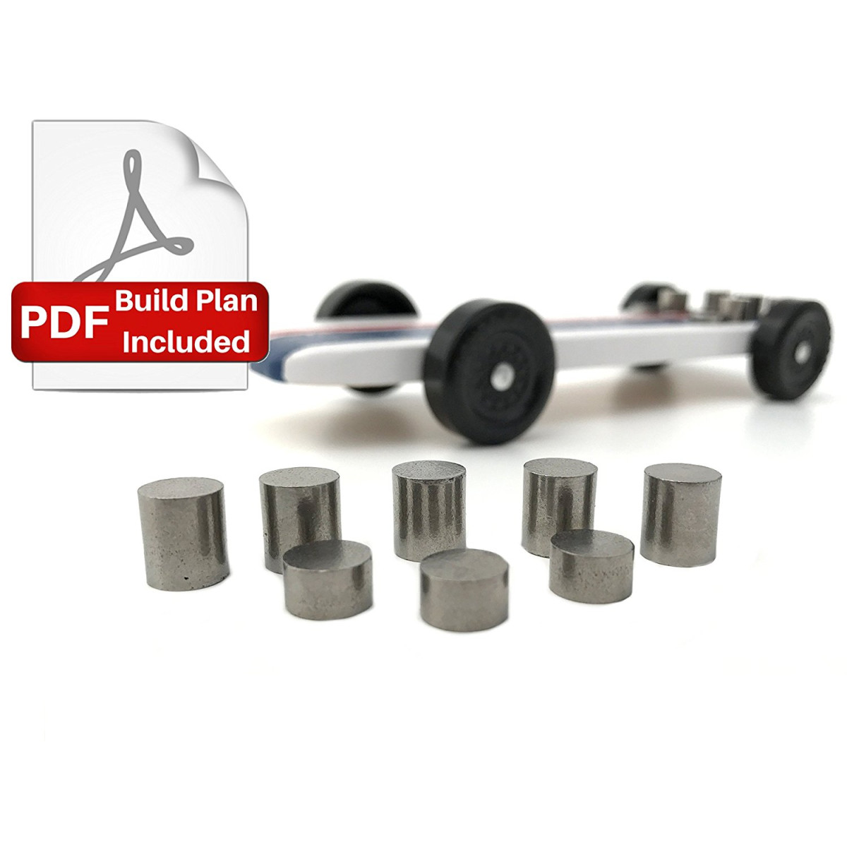3 25 Oz Tungsten Pinewood Derby Car Weight Kit Bonus Pdf Plans Showing Optimum Car Design And Weight Placement Bring Your Car To The 5 Oz Limit