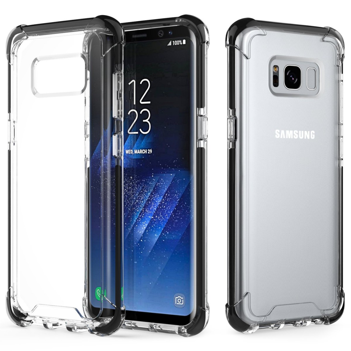 separation shoes 1aec3 1064a Galaxy S8 Plus Case, MoKo Crystal Clear TPU Bumper Gel Case Shockproof TPE  Edge + Rigid PC Hard Back Cover for Samsung Galaxy S8 Plus 6.2 Inch (2017)  ...