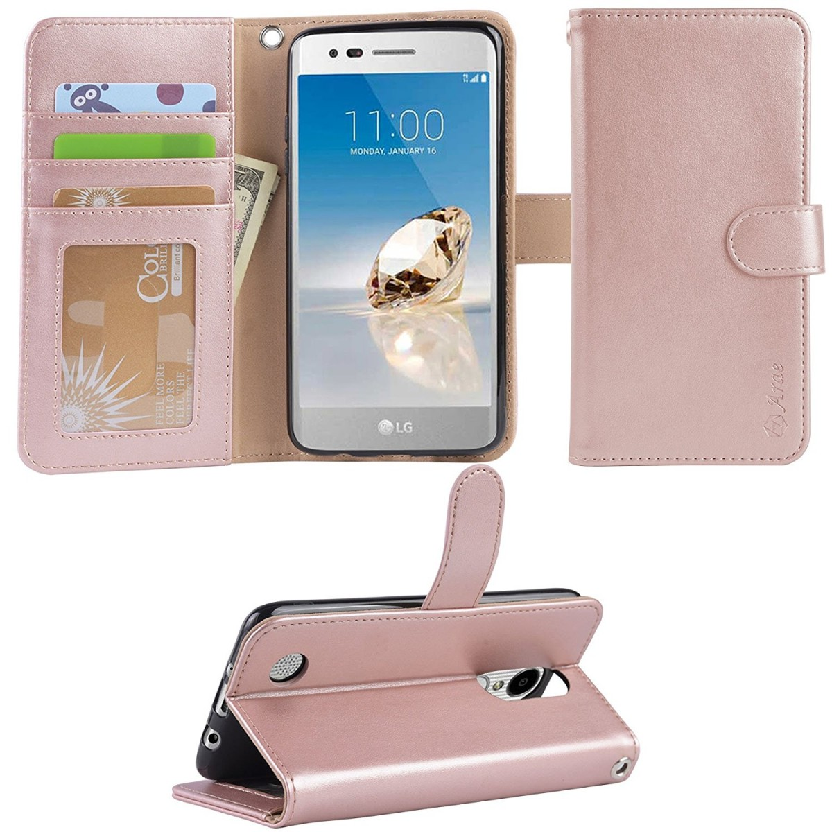 LG Aristo Case, LG Phoenix 3 Case, LG K8 2017 Case, LG Fortune Case, Arae  LG Aristo wallet Case with Kickstand and Flip cover , Rosegold