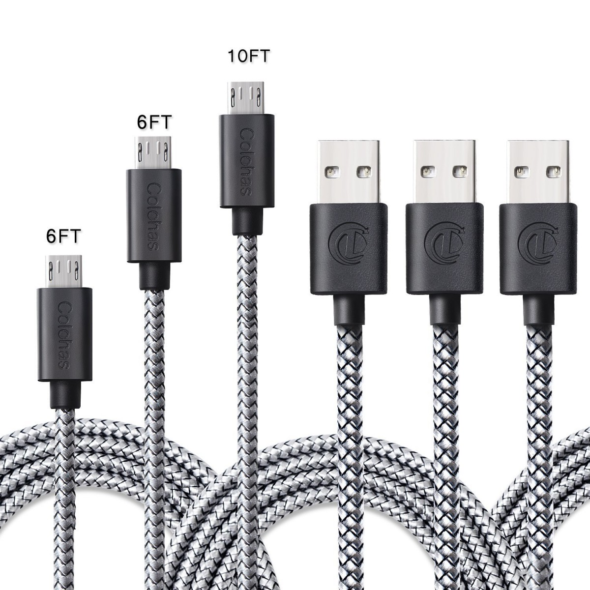Micro USB Cable, 10 FT [3 Pack] Extra