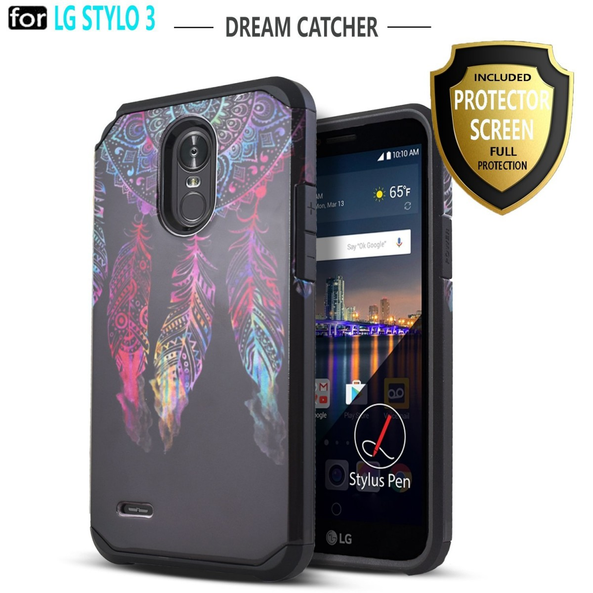 newest collection b901c f90a6 LG Stylo 3 Case, LG Stylo 3 Plus Case, Starshop Hybrid [Shock Absorption]  Rugged Impact Advanced Armor Phone Cover +[Premium Screen Protector ...
