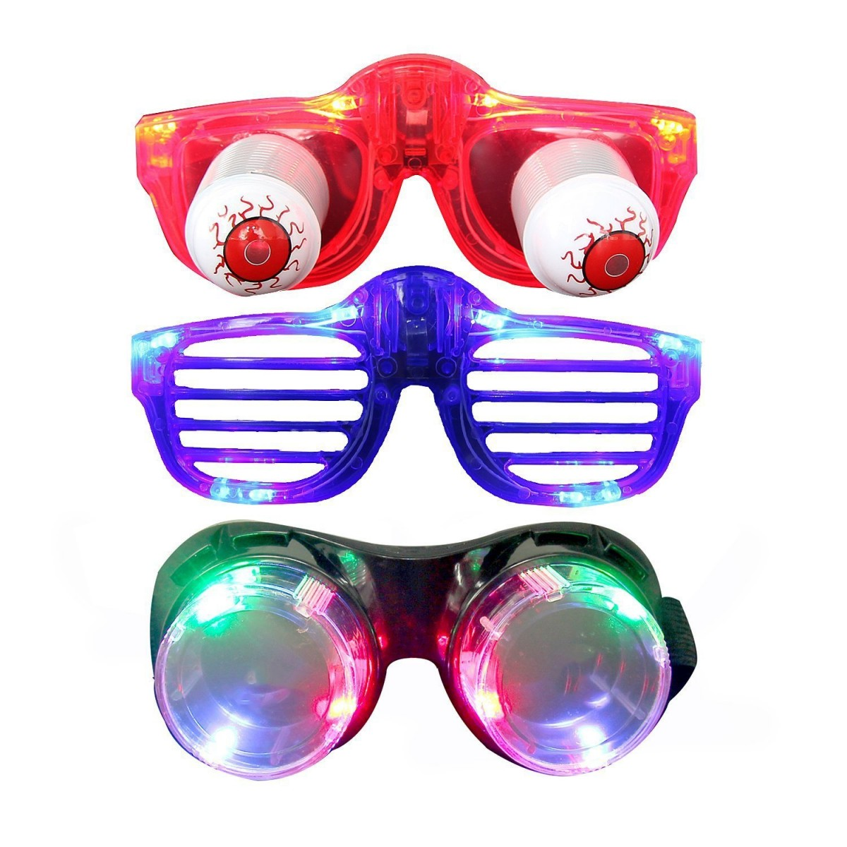 64522f4ad99f Light Up Glasses, Aomeiqi Pack of 3 LED Glasses for Party Toys Halloween  Christmas Rave, ...