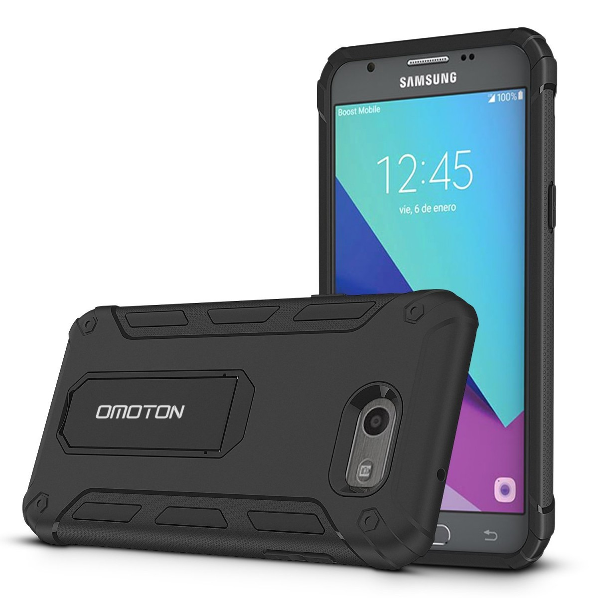 the best attitude d1cb9 d83e6 Galaxy J3 Emerge Case, Galaxy J3 Prime Case, Galaxy J3 2017 Case, OMOTON  Dual Layer Shookproof Protection Slim Fit Case with [Versatile Kickstand]  ...