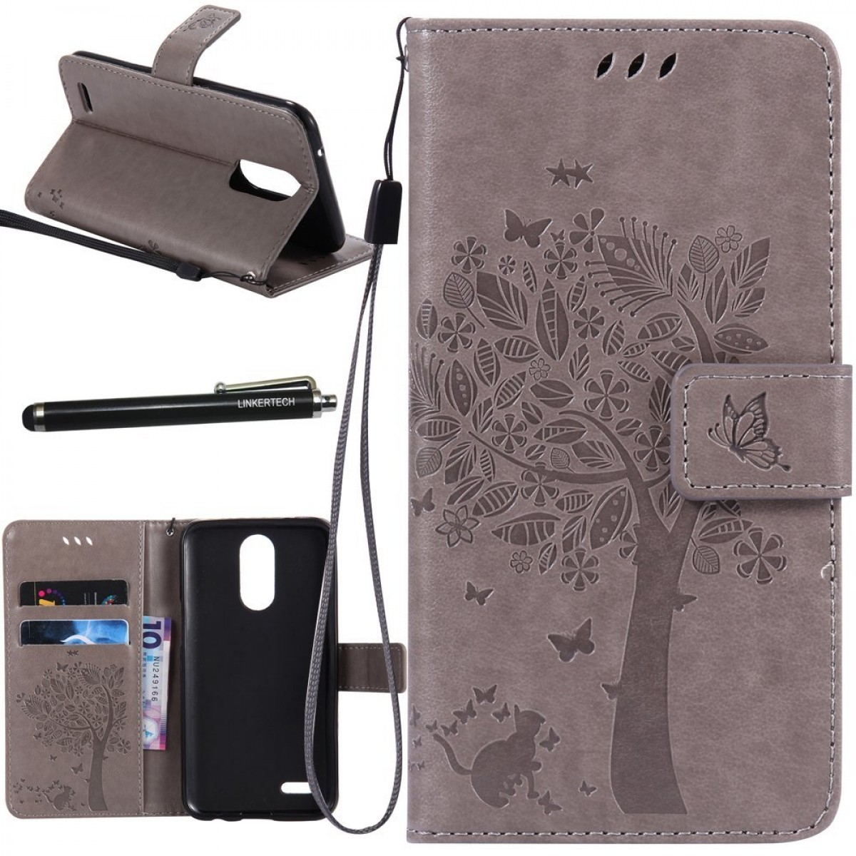 LG K20 Plus Case, LG K20 V Case, LG Harmony Case, Linkertech [Kickstand  Feature] PU Leather Wallet Flip Pouch Case Cover with Wrist Strap and Card