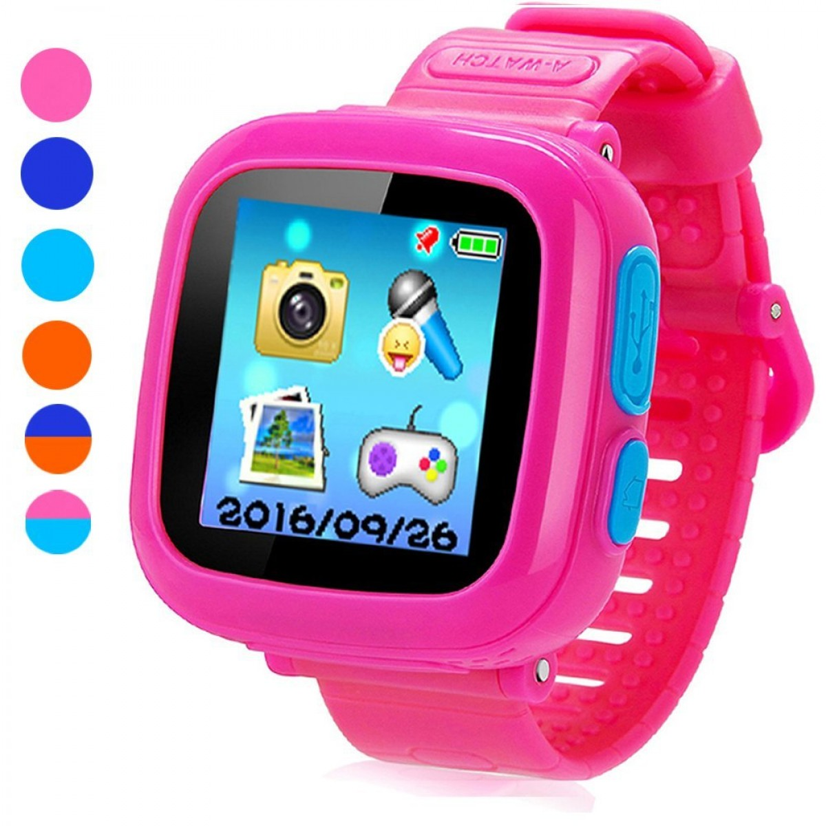 Game Smart Watch For Kids Childrens Camera 15 Touch Screen Pedometer 10 Games Timer Alarm Clock Health Monitor Boys Girls Game Watchespink