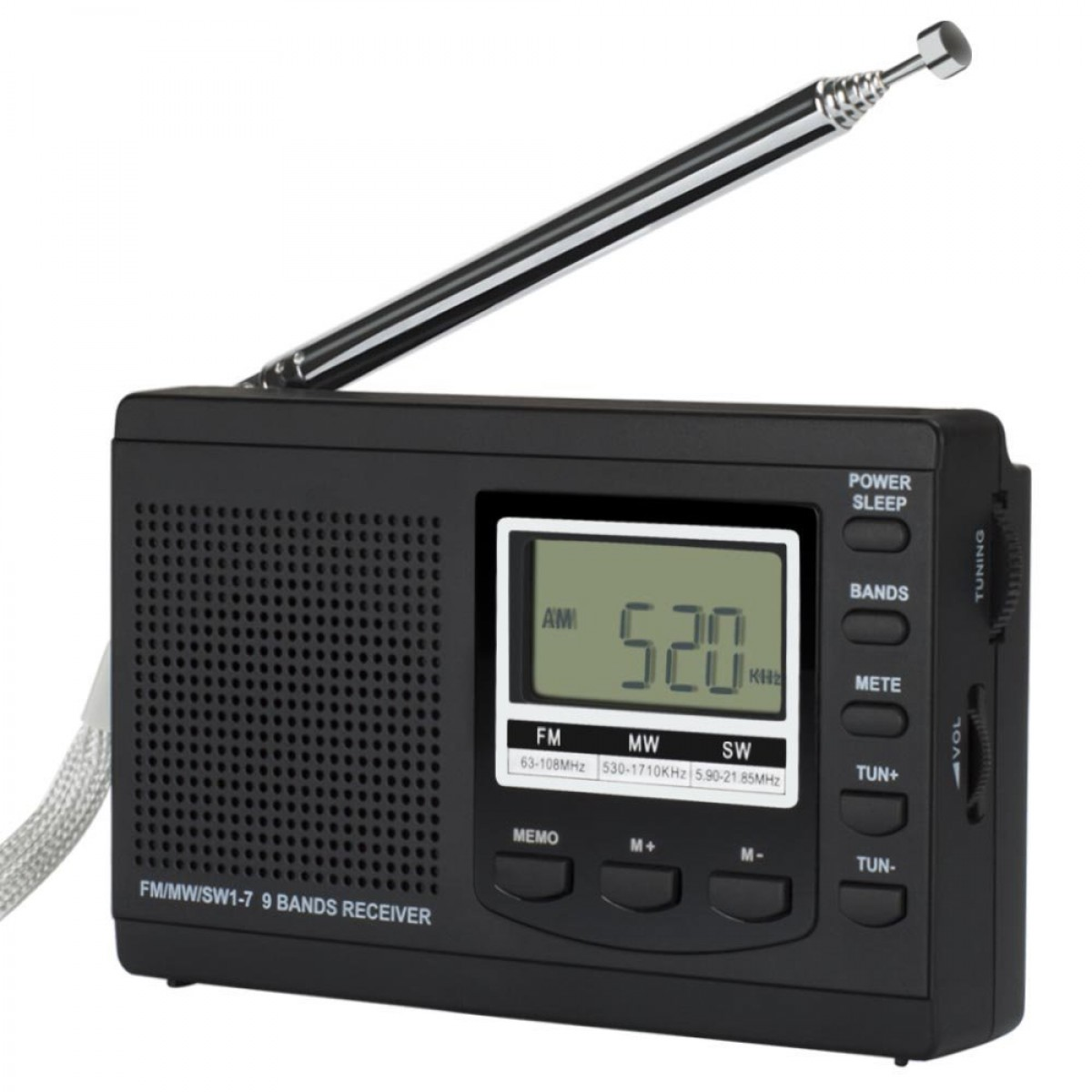 LCJ 310 Portable DSP Shortwave FM AM Clock and Alarm Multiband Radio Receiver Stereo(Black