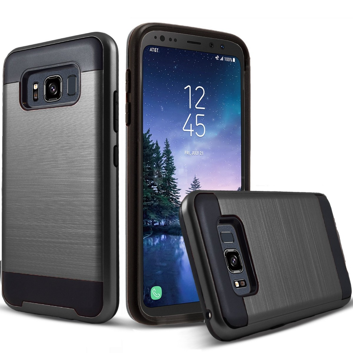finest selection 0dbad 37a4c Galaxy S8 Active Case, 2-Piece Style Hybrid Shockproof Protective Phone  Cover + Circlemalls Stylus Pen For Samsung Galaxy S8 Active(Black)