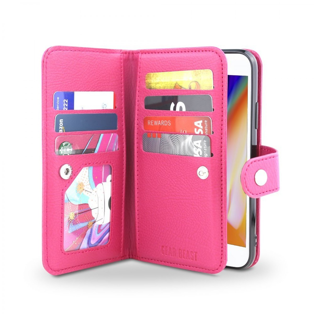 low priced 6235f c4653 Gear Beast iPhone 8 Plus / 7 Plus Wallet Case, Flip Cover Dual Folio Slim  PU Leather Case 7 Slot Card Holder Including ID Holder Plus Cash Pockets  For ...