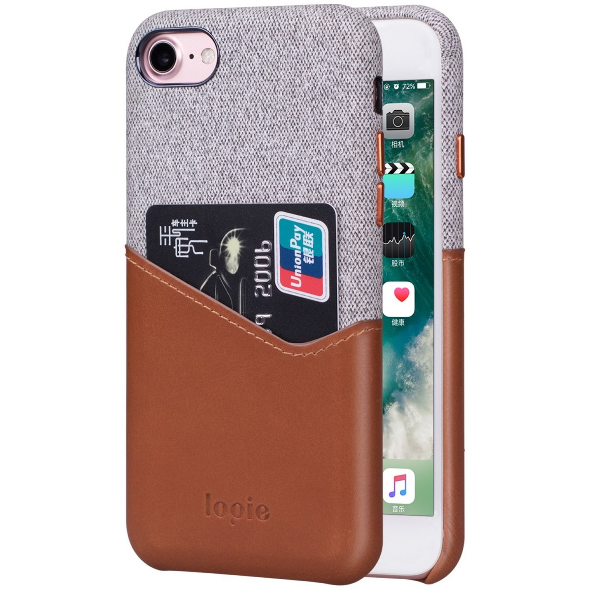 promo code c6a7a 44150 iPhone 8 Case, iPhone 7 Case, Lopie [Sea Island Cotton Series] Fabric Slim  Fit Hard Back Case Wallet Cover with Genuine Leather Card Holder Design for  ...