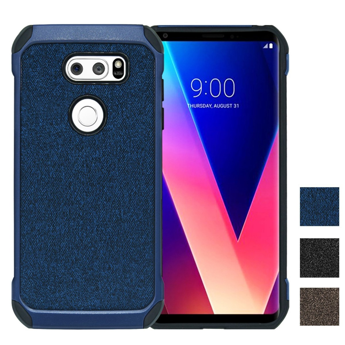 size 40 1e5be 518b9 LG V30 Case, YSAGi Ultra Slim Thin Dual Layer with Soft Cloth Pattern,  Heavy Duty Protection Shock-Absorption and Anti-Scratch Four-Corner Airbag  ...