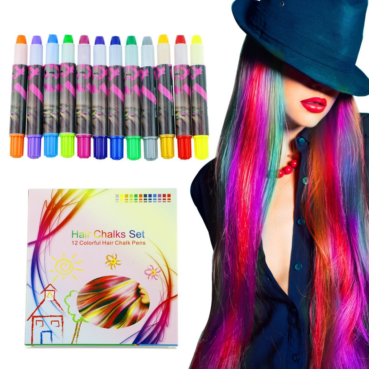Buluri Temporary Hair Chalk Set Non Toxic 12 Colorful Beautiful Hair Chalk Pens For Girls Party Cosplay Diy Works On All Hair Colors