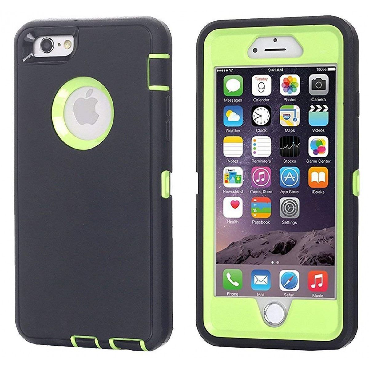on sale b993f fccc9 iPhone 6 Case, iPhone 6S Case [Heavy Duty] AICase Built-in Screen Protector  Tough 3 in 1 Rugged Shorkproof Cover for Apple iPhone 6/6S (Green with ...